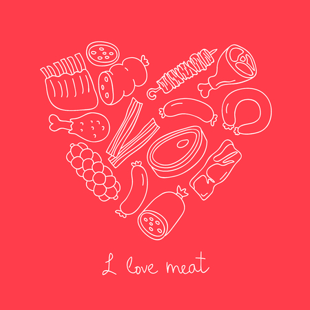 bacon love: Meat icons in the shape of a heart. The inscription I love meat. Vector illustration on a red background. Illustration