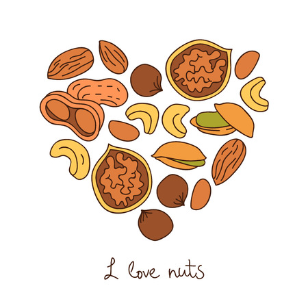 cashews: Nuts. Icons in the shape of a heart. The inscription I love nuts. Vector illustration on white background.
