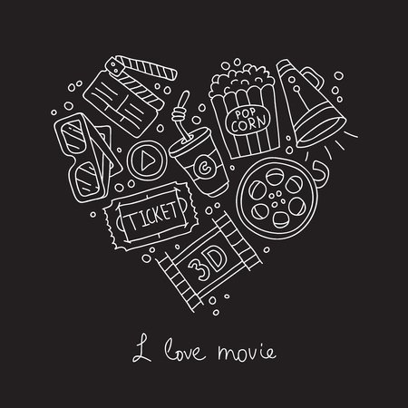love movies: Movie Icons in the shape of a heart. The inscription I love movies. Vector illustration on a black background.