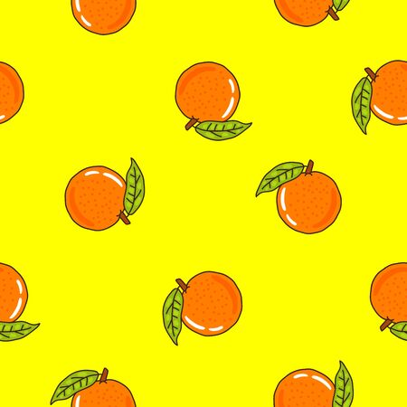 oranges: Seamless vector pattern of oranges on a yellow background.