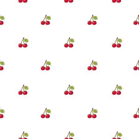 fruit stem: Seamless vector pattern of cherries on a white background. Illustration