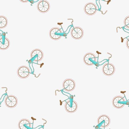 bicycle chain: Seamless vector pattern of the bike on a light gray background. Illustration