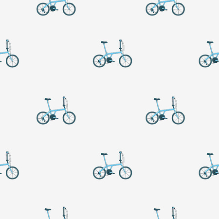 bicycle chain: Seamless vector pattern of blue bicycle on a light gray background. Illustration