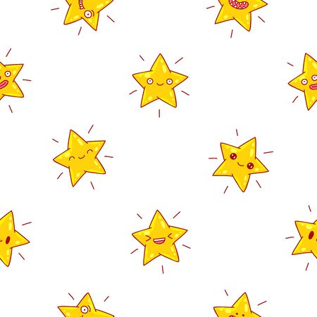 palate: Seamless vector pattern of cute yellow stars with different emotions on a white background.