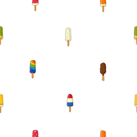lick: Seamless vector pattern in different popsicle on a white background.