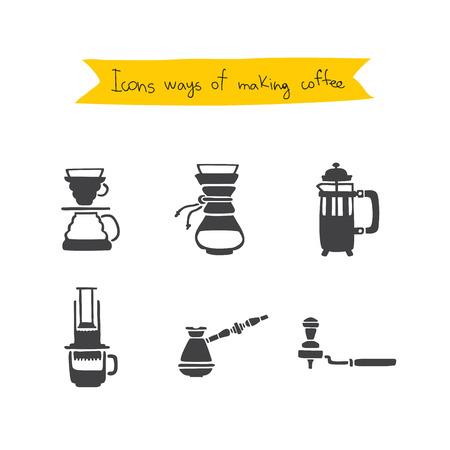 コーヒーを準備する方法。白の背景にベクトルのアイコン。