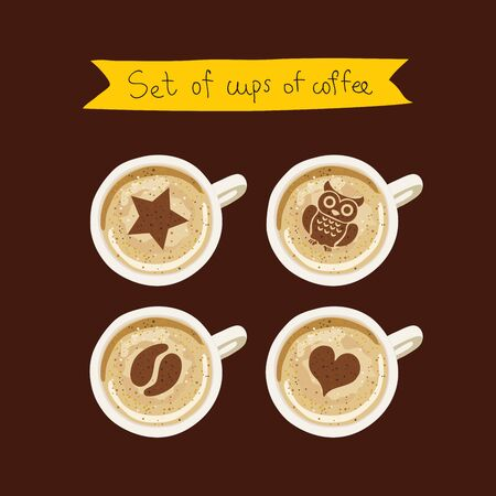 lethargy: Set of cups of coffee with a pattern. Vector icons on a brown background. Illustration