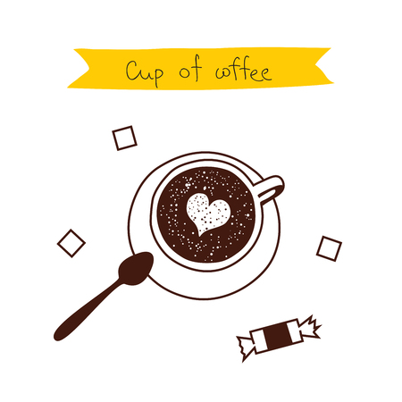 sugar spoon: A cup of coffee with a heart, a sweet, spoon and sugar cubes. Vector illustration on white background.