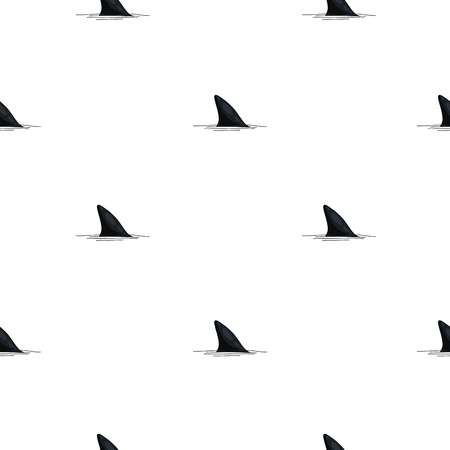 Seamless vector pattern of shark fins on a white background. Illustration