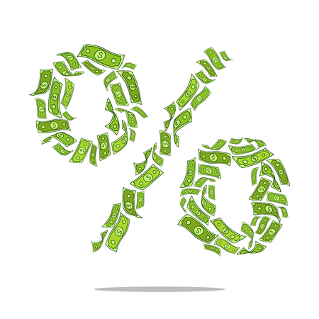 signo pesos: Sign of percent in the form of flying greenback. Vector illustration on white background.