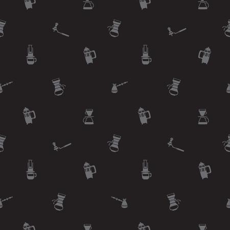 アイコン黒背景にコーヒーを作る方法のシームレス パターン。  イラスト・ベクター素材