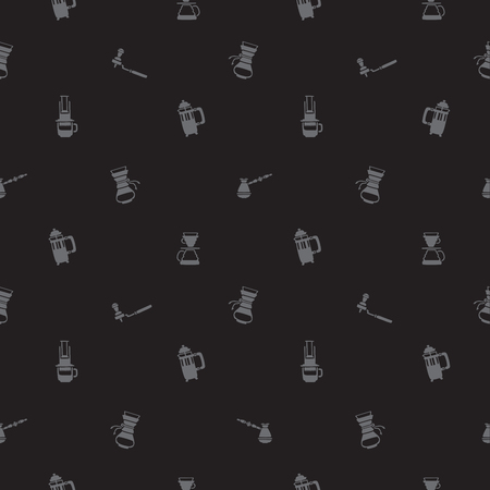 Seamless vector pattern of icon ways of making coffee on a black background.