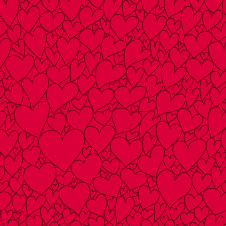 heart outline: Seamless vector pattern of the heart outline on a dark red background. Vector illustration of Valentines Day.