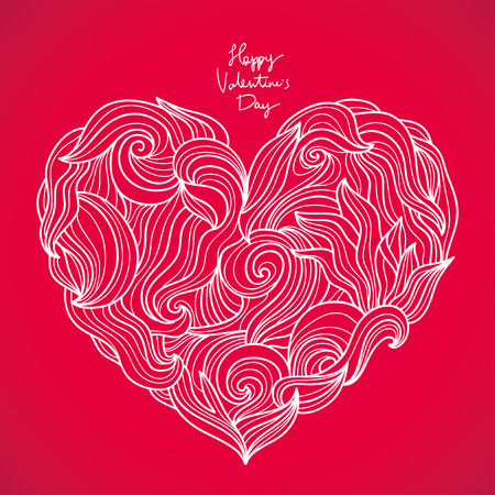 holidays family: Big beautiful heart. Vector illustration of Valentines Day on a scarlet background. Excellent card.