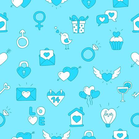 corazones azules: Modelo inconsútil del vector del icono de San Valentín en un fondo azul. Vectores