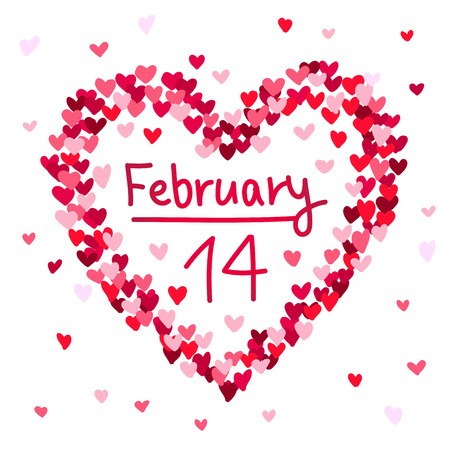 february 14: Illustration of the February 14 Valentines Day heart-shaped. Vector illustration on white background.