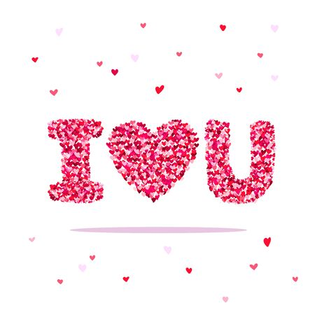 Big Beautiful Heart Consisting Of Small Hearts. Vector ...