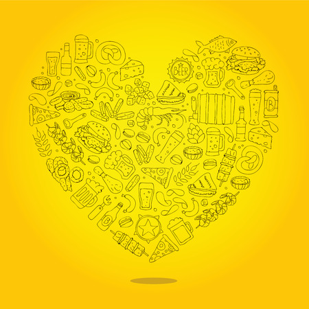 pistachios: Beer icons in the form of a large heart. Vector illustration on a yellow background.