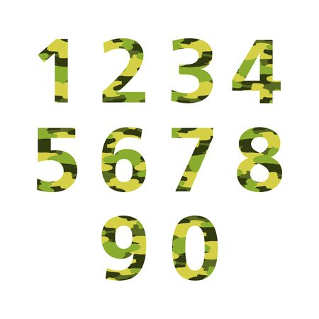 bravery: Set of numbers camouflage coloring. Vector icons on a white background.