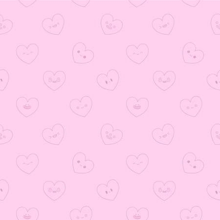light pink: Seamless vector pattern of cute and fun contour hearts with different emotions on a light pink background.