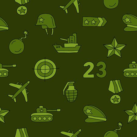 defenders: Seamless vector pattern of icon of Fatherland Defenders Day on a dark green background. Illustration