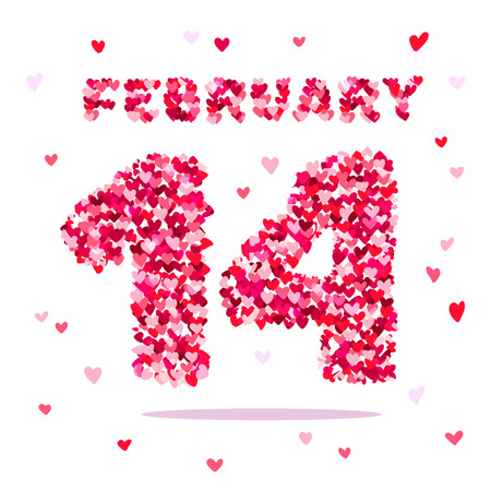 number 14: The number 14 and the word February of small multicolored hearts. Excellent gift card for Valentines Day. Vector illustration on white background.
