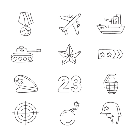 merit: Set of vector icons Fatherland Defenders Day, hand-drawn on a white background. Illustration