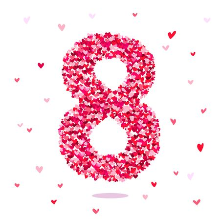 digit 8: Digit 8, consisting of hearts. Excellent gift card on March 8. Vector illustration on white background.