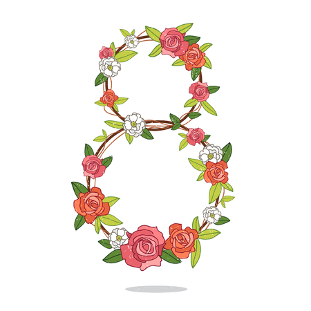digit 8: Excellent gift card to the International Womens Day - 8 March. Vector illustration on white background. Digit 8, woven of roses.