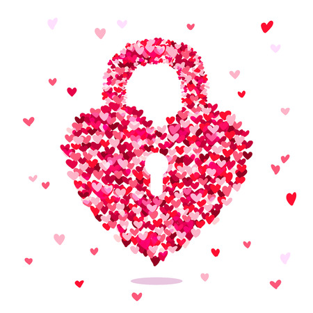 door lock love: The lock on the door in the form of heart from small multi-colored hearts. Excellent gift card for Valentines Day. Vector illustration on white background.