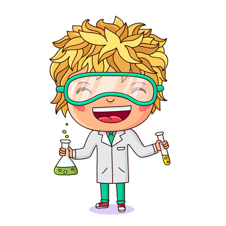 chemist: Little chemist. Boy dressed as chemist with test tubes in hand. Vector illustration on white background.