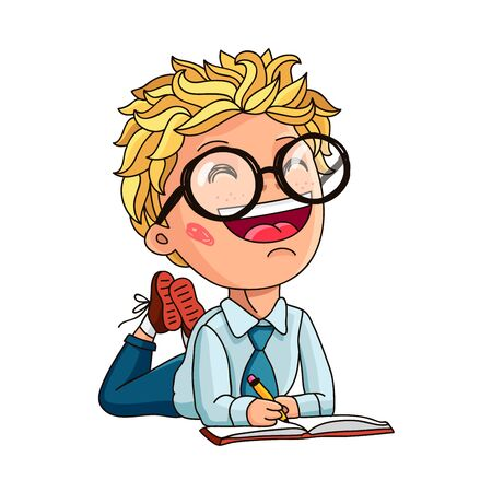 smart boy: Little boy with glasses writes something in a book. Smart child. Concept of education. Vector illustration on white background. Illustration