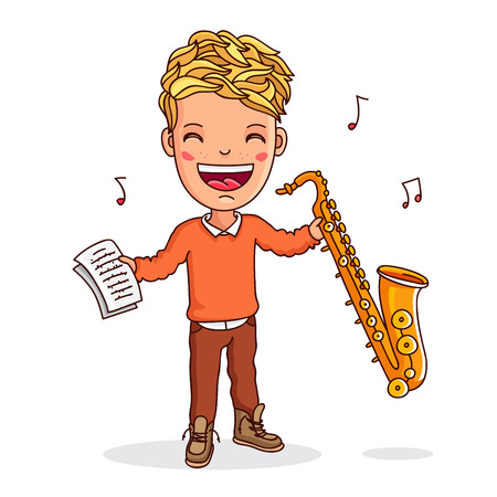 saxophonist: Small saxophonist. Boy playing the saxophone. Vector illustration on white background. Illustration
