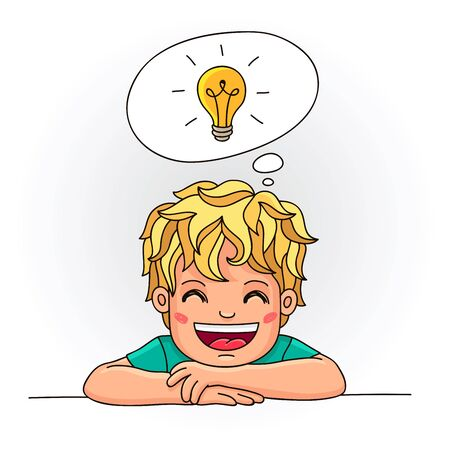 smart boy: Smiling boy with a light bulb over his head. Vector illustration on white background. Illustration