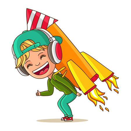 run off: Little cheerful boy with rocket on his back. Startup. Vector illustration on white background.