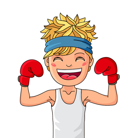 Super Kid. Boy athlete. A boy in a white shirt and red boxing gloves. Vector illustration on white background. Illusztráció