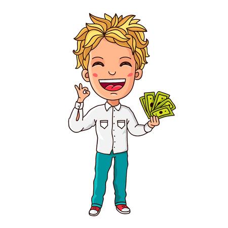 bolsa dinero: Dinero de bolsillo. Muchacho con el dinero de papel en la mano. Ilustraci�n vectorial sobre fondo blanco.