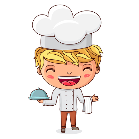 smart boy: Little cook. A boy dressed as a cook with dish in hand. Vector illustration on white background.