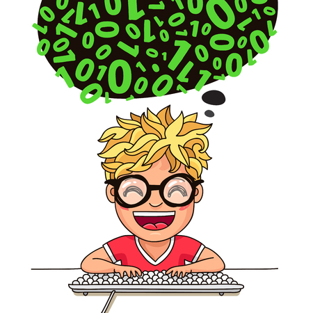 smart boy: Boy programmer writes code at the keyboard. Vector illustration on white background Illustration