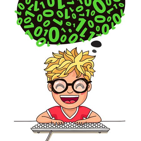programmeur Boy écrit le code au clavier. Vector illustration sur fond blanc