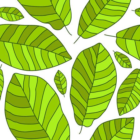 banana leaf: Seamless vector pattern of green banana leaf on a white background. Illustration