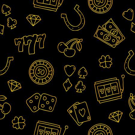 黒地に金のカジノ アイコンのシームレス パターン。