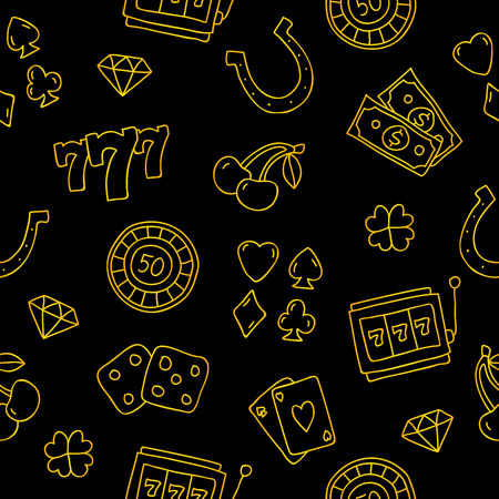 Seamless vector pattern of gold casino icons on a black background.
