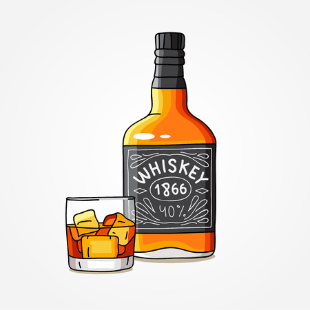 booze: Bottle of whiskey and a glass. Vector illustration on white background.