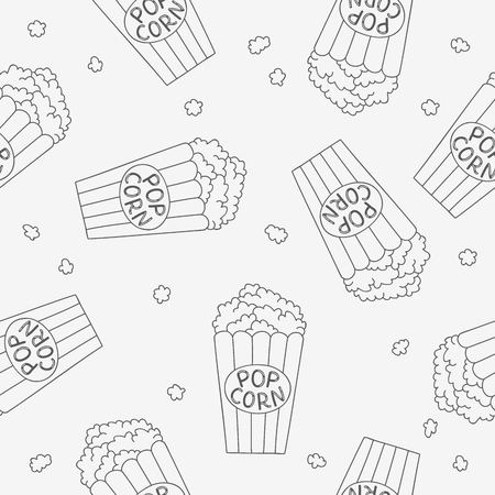 buckets: Seamless vector pattern of buckets of popcorn on light gray background.