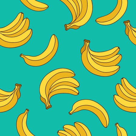 banana illustration: Seamless vector pattern of yellow bananas on a blue background.