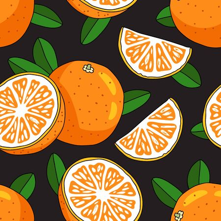 sap: Seamless vector pattern of oranges on a black background. Juicy summer fruit.