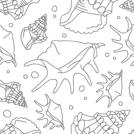 Seamless vector pattern of shells on a white background.