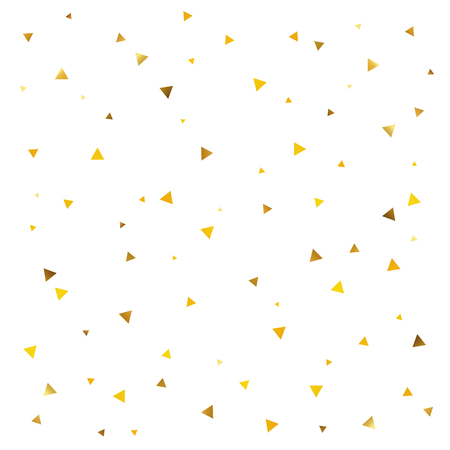 Abstract pattern of golden triangle on a white background. Festive confetti. A great background for a gift card.