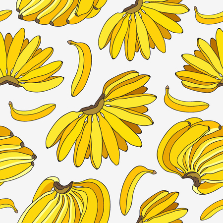 ligaments: Seamless vector pattern of the ligaments yellow bananas on a light gray background. Illustration